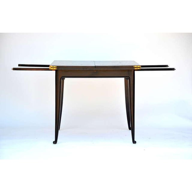 Chic Ebonized French 1940s Folding Center or Dining Table For Sale - Image 4 of 10