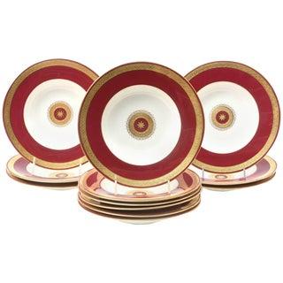 12 Custom for Tiffany, Rich Ruby Gilt Encrusted Medallion Rimmed Soup Bowls For Sale