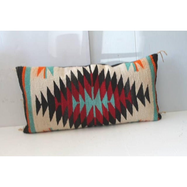 Fantastic Navajo Indian Weaving Bolster Pillow For Sale - Image 4 of 4