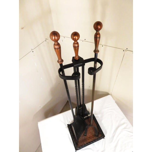 Vintage Mid Century Copper & Wrought Iron Fireplace Tools Set- 4 Pieces For Sale - Image 12 of 13