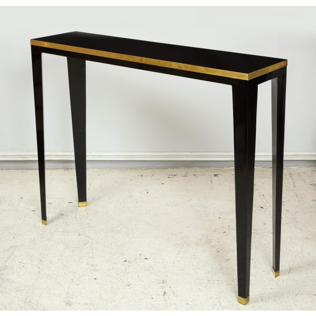 Custom Ebonized Brass-Banded Consoles on Tapered Legs For Sale - Image 9 of 9