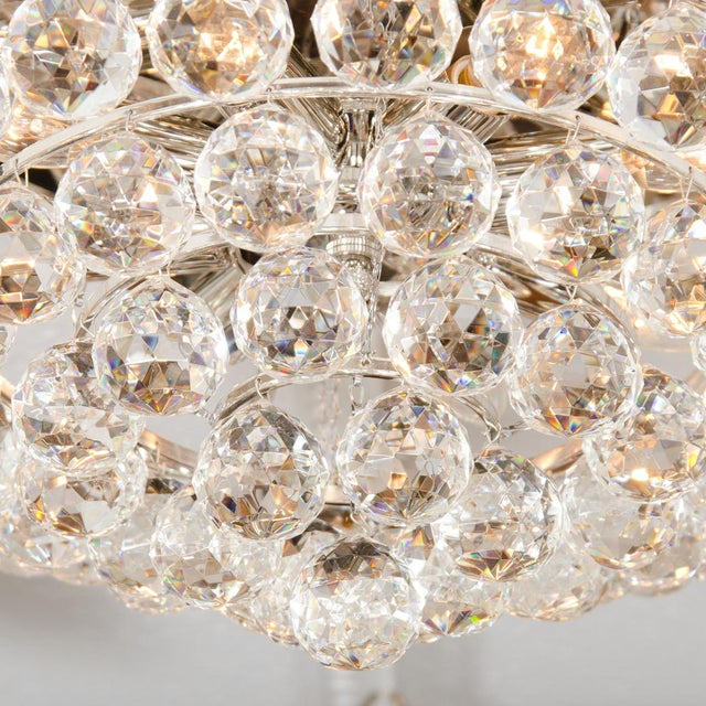 1960s Tiered Austrian Crystal Ball Flush Mount Fixture For Sale - Image 5 of 6