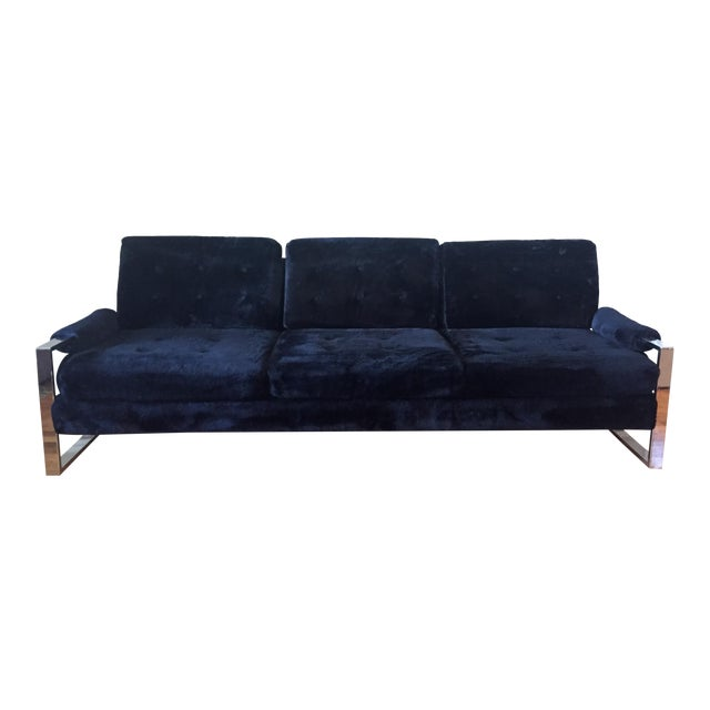 Milo Baughman Style Chrome Flat Bar Sofa - Image 1 of 10