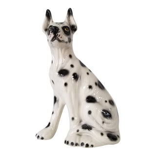 Italian Capodimonte Dalmatian Dog Ceramic Statue . For Sale