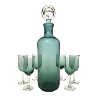Vintage Mid Century Modern Hand Blown Glass Decanter Bottle & Cordial Glasses - Set of 8 For Sale