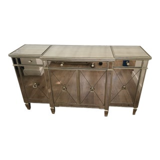 Contemporary Reflective Mirrored Credenza For Sale