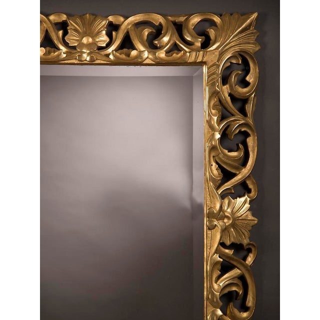 19th Century French Baroque Style Gold Leaf Framed Beveled Mirror For Sale In Houston - Image 6 of 8