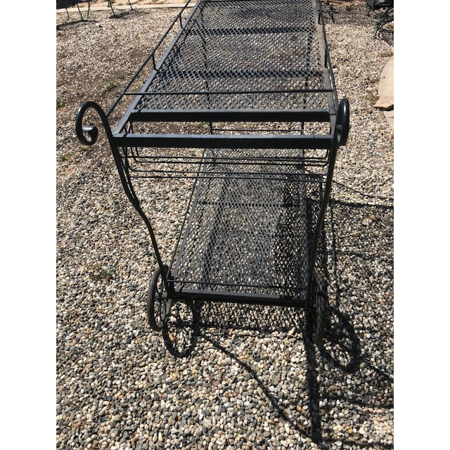 1960s Vintage Russel Woodard Wrought Iron Drink/Bar/Flower Pot Cart For Sale - Image 5 of 7