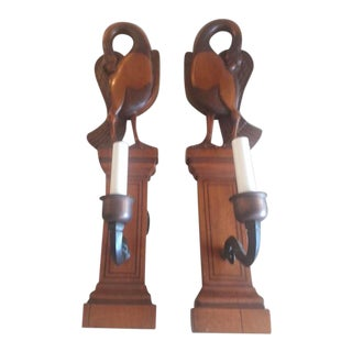 1900s French Satin Wood Walnut Swan Wall Sconces - a Pair For Sale