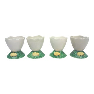 Vintage Portuguese Ceramic Egg Cups - Set of 4