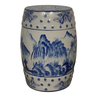 Mid 20th Century Vintage Chinese Blue and White Ceramic Stool For Sale