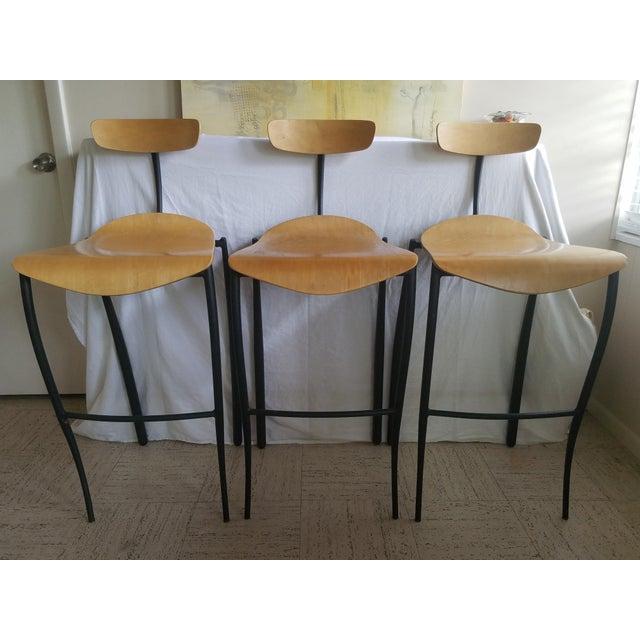 Brown Modern Bar Stools - Set of 3 For Sale - Image 8 of 8