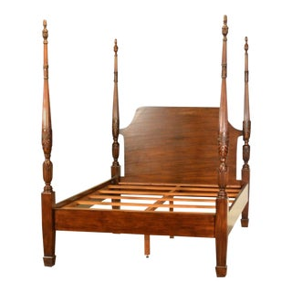Leighton Hall Queen Size Mahogany Rice Carved Poster Bedframe - Showroom Sample For Sale