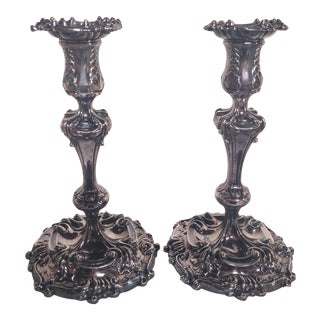 1940s Tiffany & Co. Makers Rococo Silver Candlesticks - a Pair For Sale