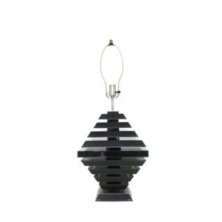 Mid Century Modern Black Lucite Geometric Table Lamp For Sale