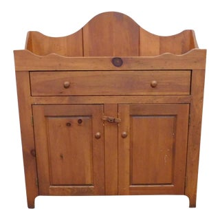 1990s Farm Made Rustic Amish Pine Country Dry Sink Cabinet