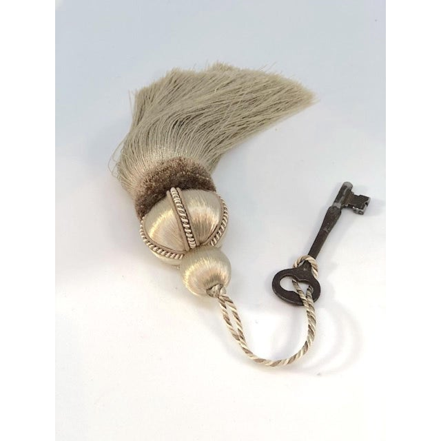 Taupe Key Tassel With Cut Velvet Ruche - a Pair For Sale - Image 9 of 10