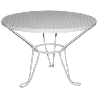 Vintage Mid Century Salterini Round White Patio Side Table For Sale