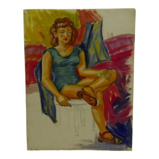 "1949 Mid-Century Modern Original Painting on Paper, ""Sitting Unfinished"" by Tom Sturges Jr"