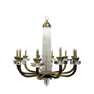 Modern History 10-Light Warhol Lucite and Brass Chandelier For Sale
