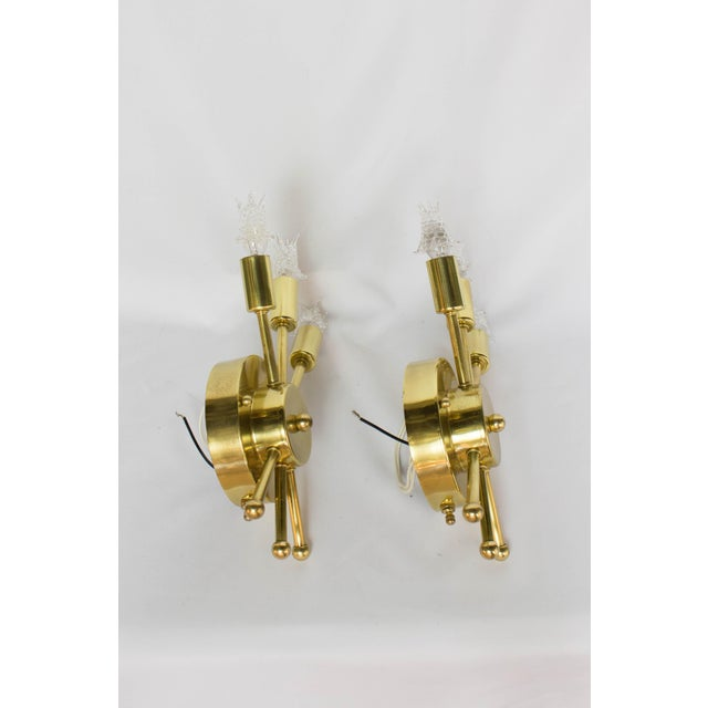 Mid-Century Modern Pair of Restored Mid Century Brass Sputnik Sconces For Sale - Image 3 of 7