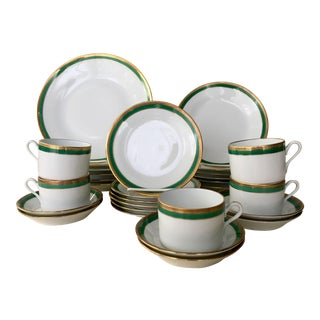 Vintage Richard Ginori Palermo Green 6-Place Dinnerware Set For Sale