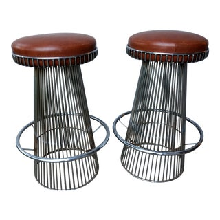 Cy Mann Chrome Bar Stools After Warren Platner - a Pair For Sale