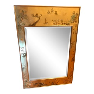 1980s LaBarge Chinoiserie Style Eglomise Mirror