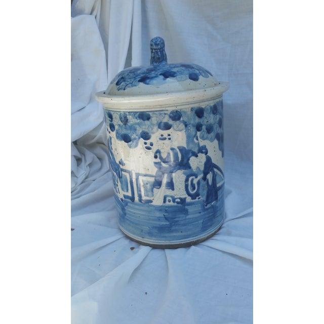 Rustic Glaze Blue White Bread Crock - Image 2 of 6