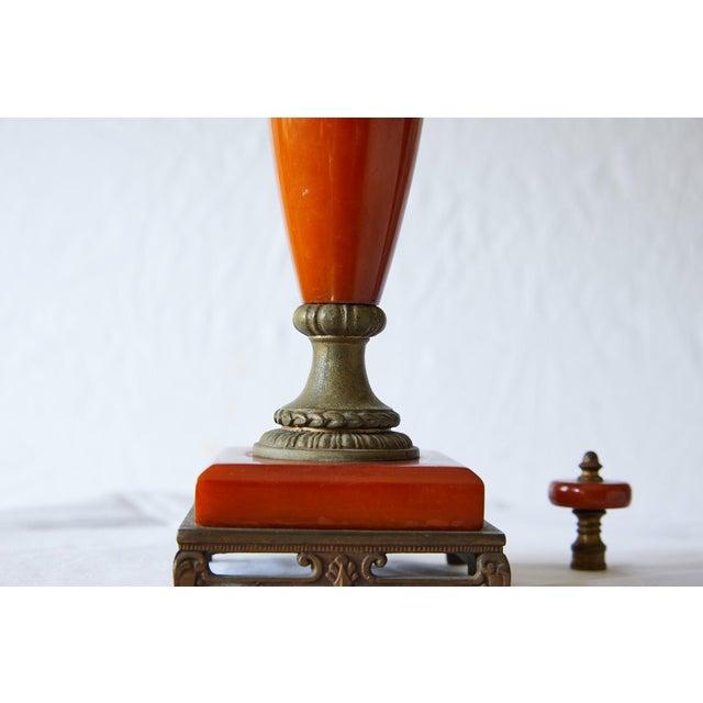 Petite Art Deco Lamp of Orange Bakelite For Sale - Image 10 of 13