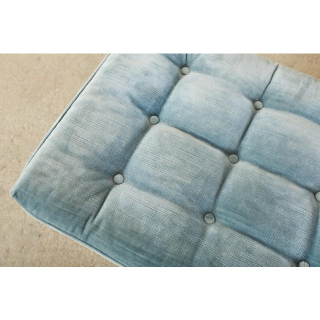 Sky Blue Pair of Billy Baldwin Style X Base Tufted Blue Velvet Benches For Sale - Image 8 of 13