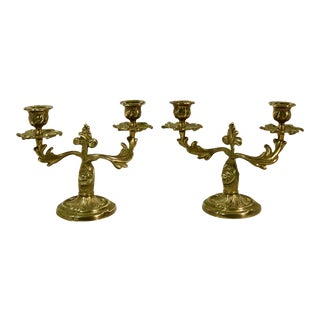 Italian Brass Candelabras Vintage Double Taper Holders - a Pair For Sale
