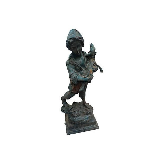 French Cast Iron Boy & Calf Garden Statue - Image 6 of 6