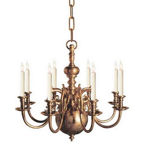 English Visual Comfort E.F Chapman 8 Light Brass Chandelier For Sale - Image 3 of 3