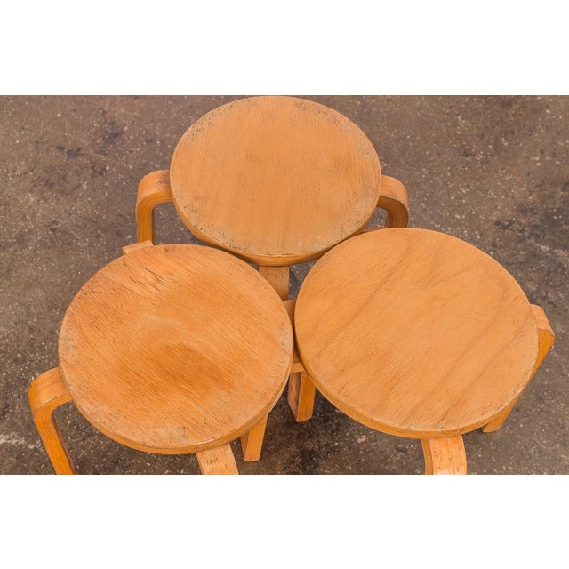 Brown 1960s Alvar Aalto Style Small Stacking Stools - Set of 3 For Sale - Image 8 of 9
