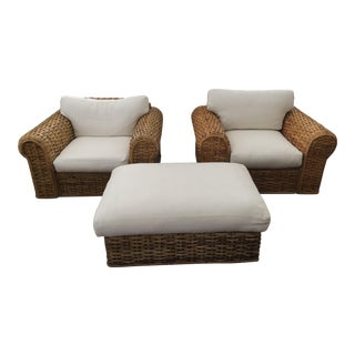 Ralph Lauren Rattan Club Chairs and Ottoman For Sale