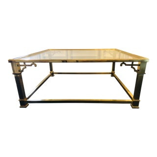 Vintage Chinoiserie Brass & Glass Coffee Table For Sale
