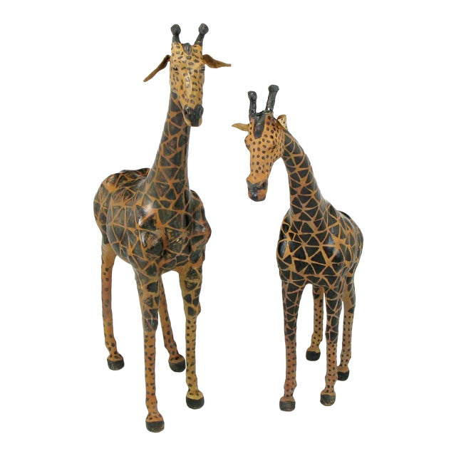 Pair of Leather Giraffe Models - Image 1 of 4