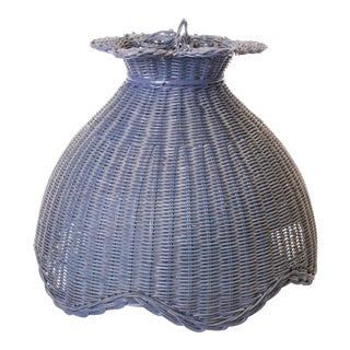 Vintage Cottage Blue Wicker Hanging Lamp