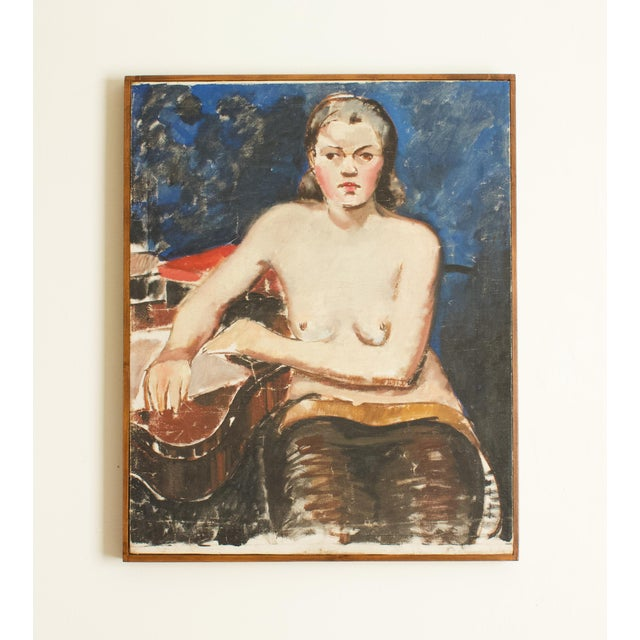 1930s 1930s French Seated Nude Painting, Framed For Sale - Image 5 of 5