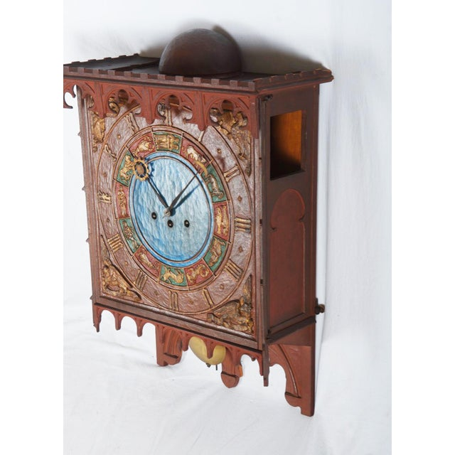 19th Century Danish Wooden Zodiac Clock in Gothic Style For Sale - Image 10 of 13