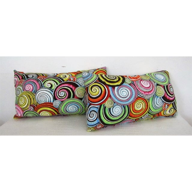2010s Abstract Print Lumbar Pillows - A Pair For Sale - Image 5 of 5