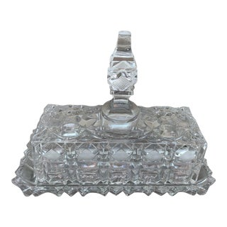 Vintage Cut Glass Butter Dish With Lid For Sale