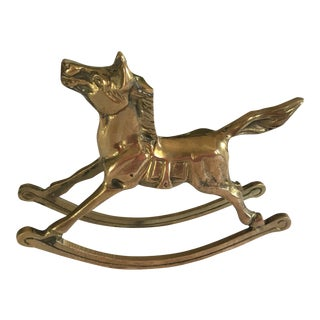 Vintage Solid Brass Rocking Horse For Sale
