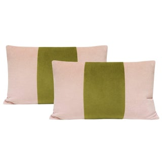 "12""x18"" Blush and Chartreuse Velvet Lumbar Pillows - a Pair For Sale"