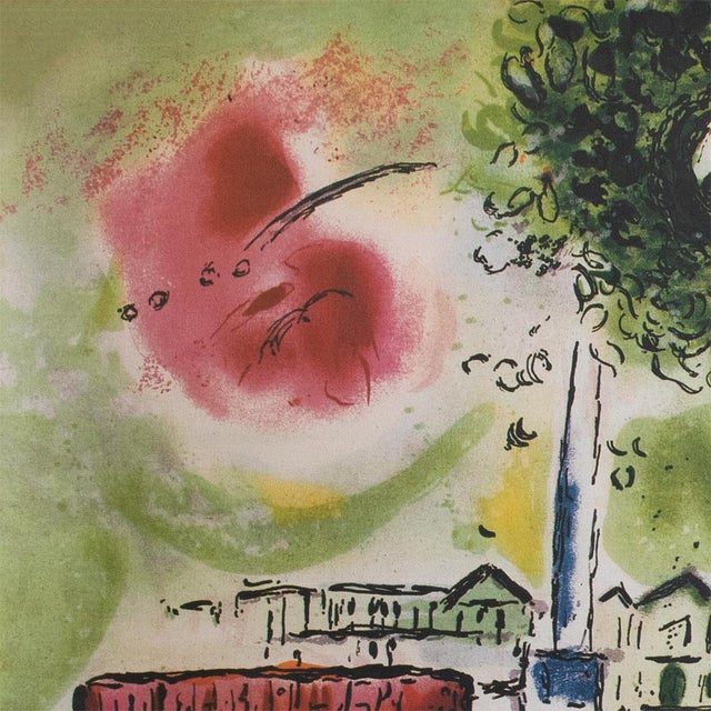 """The School of Paris Marc Chagall """"The Flying Bouquet"""", XL Limited Edition Print With C. O. A., C.1990s For Sale - Image 3 of 13"""