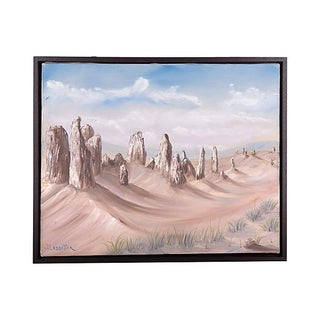 Signed Desert Landscape Oil Painting