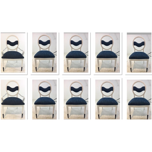 Caracole Modern Prototype Blue and White Wave Dining Chairs Set of Ten For Sale - Image 9 of 9