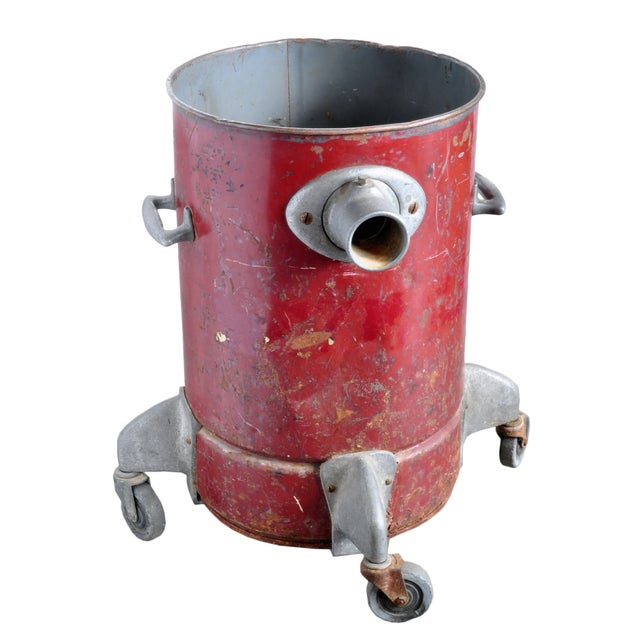 Vintage Red Steel Can on Casters - Image 2 of 3
