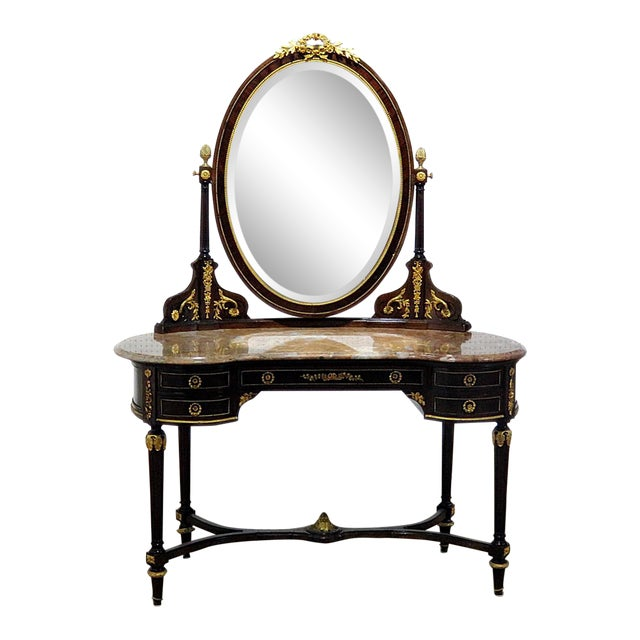 Regency Style Marble Top Vanity With Mirror For Sale